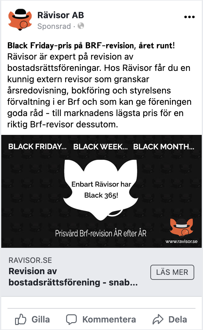 Facebook black week-annons